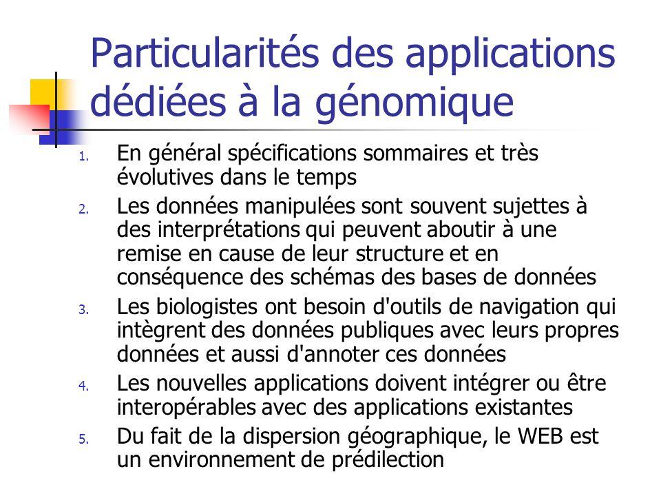 Particularités des applications dédiées à la génomique