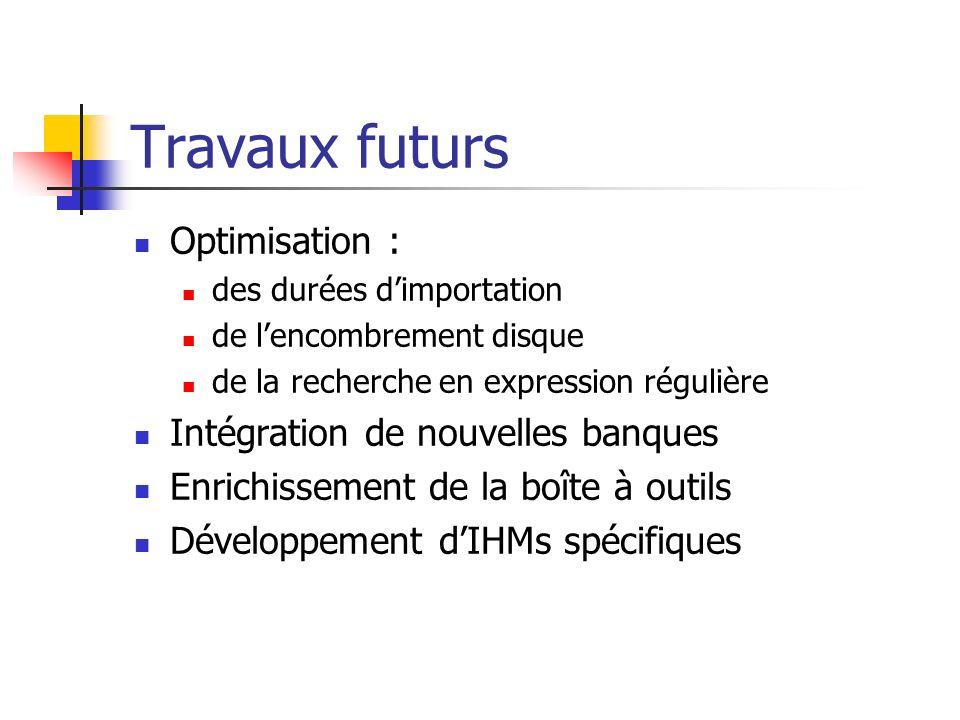 Travaux futurs Optimisation : Intégration de nouvelles banques