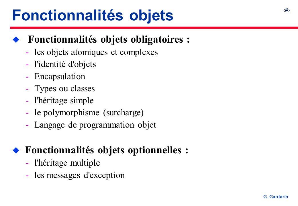 Fonctionnalités objets