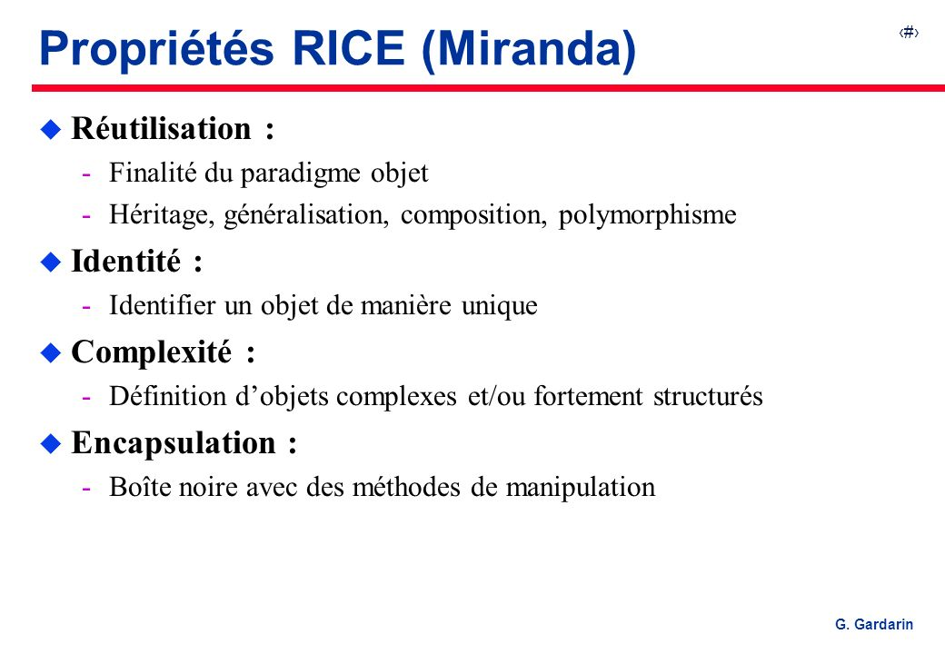 Propriétés RICE (Miranda)