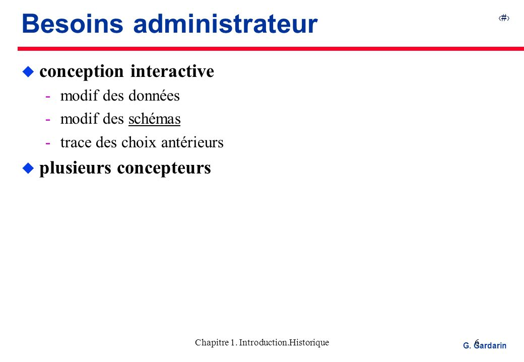 Besoins administrateur