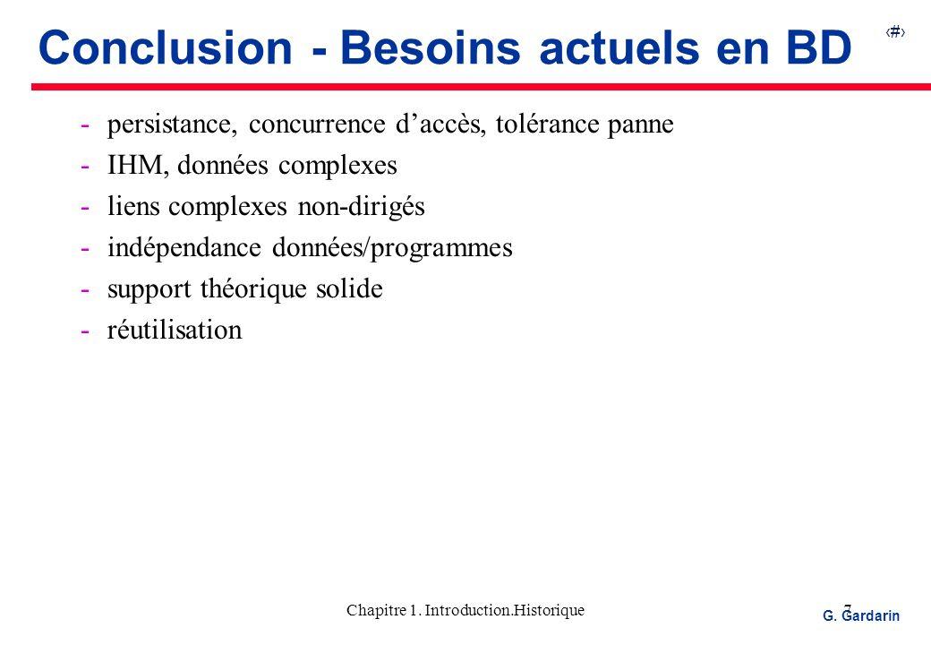 Conclusion - Besoins actuels en BD