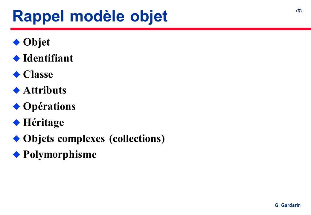 Rappel modèle objet Objet Identifiant Classe Attributs Opérations
