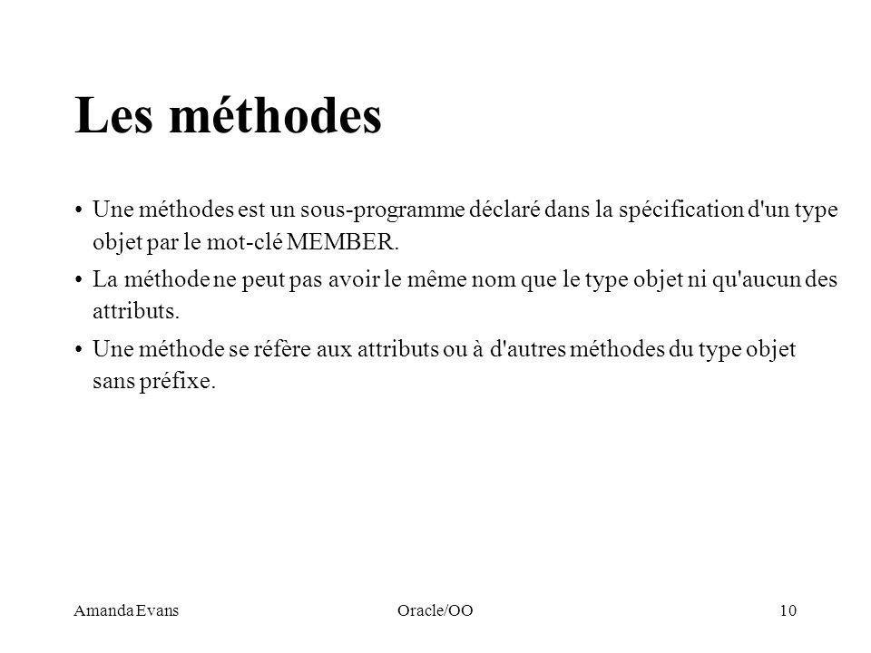 Les méthodesUne méthodes est un sous-programme déclaré dans la spécification d un type objet par le mot-clé MEMBER.