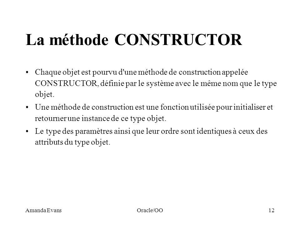 La méthode CONSTRUCTOR