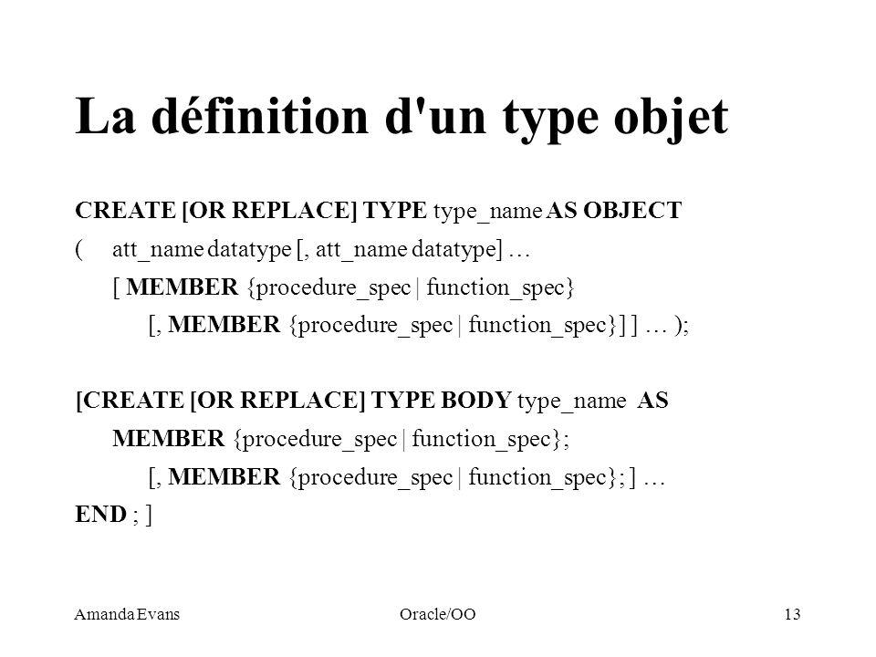 La définition d un type objet