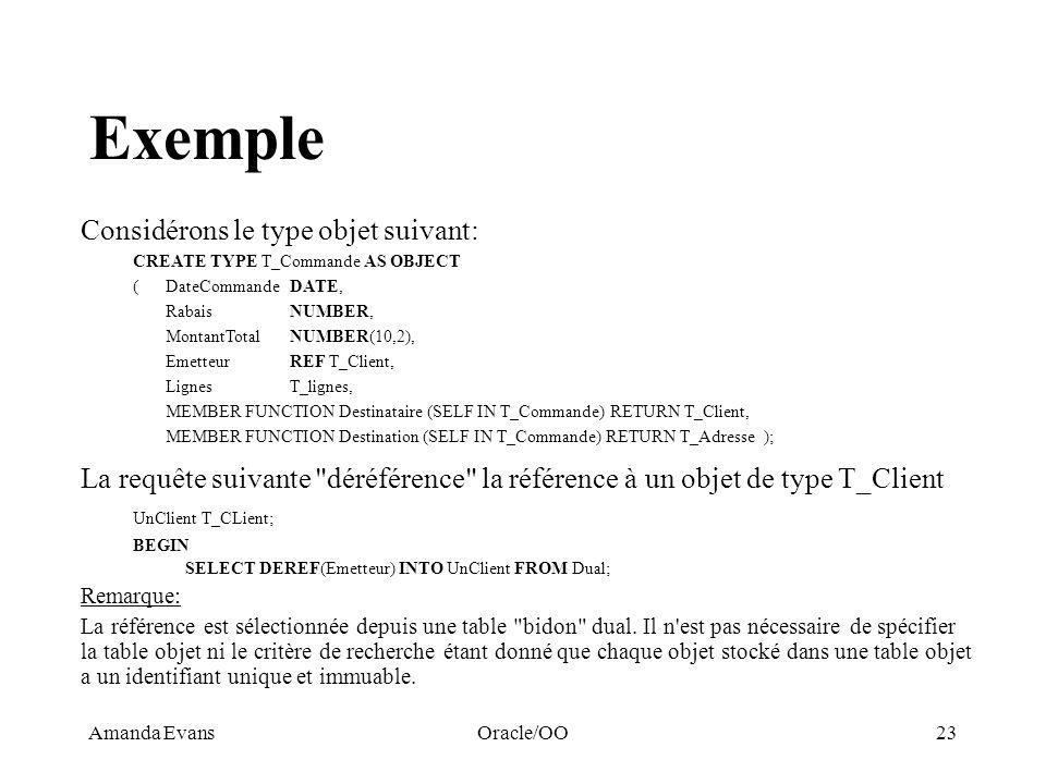 Exemple Considérons le type objet suivant: