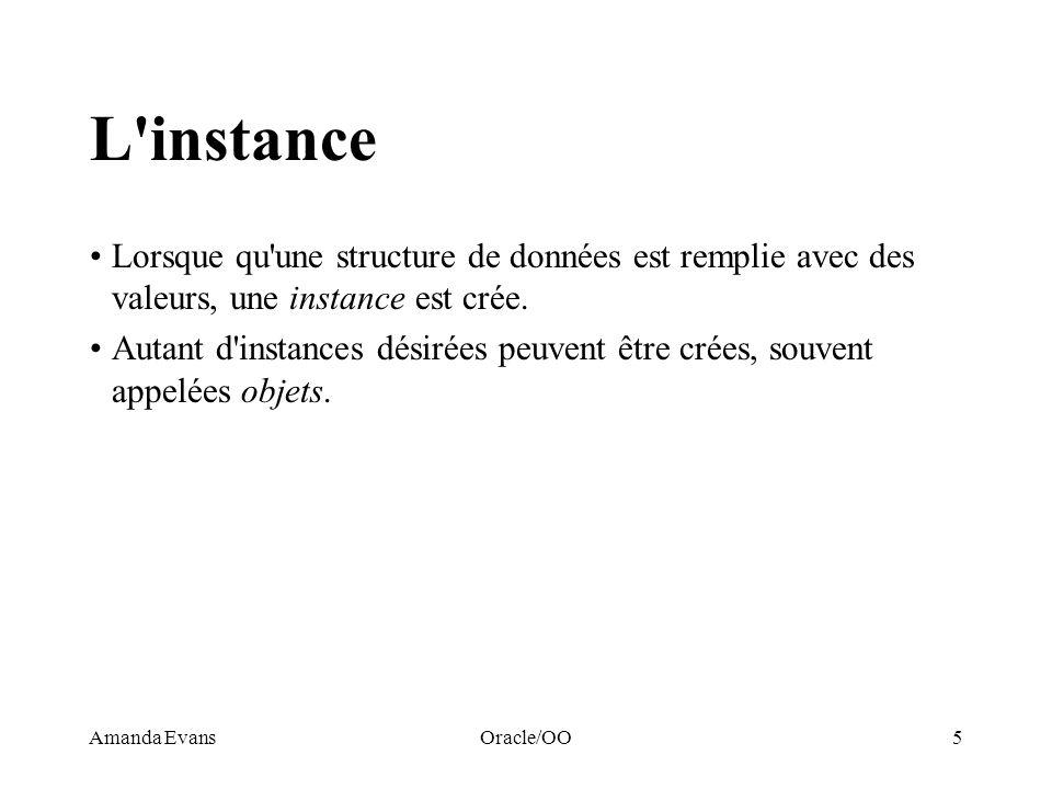 L instanceLorsque qu une structure de données est remplie avec des valeurs, une instance est crée.