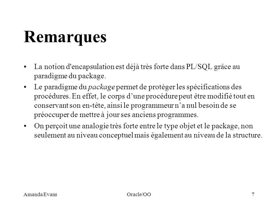 Remarques La notion d encapsulation est déjà très forte dans PL/SQL grâce au paradigme du package.
