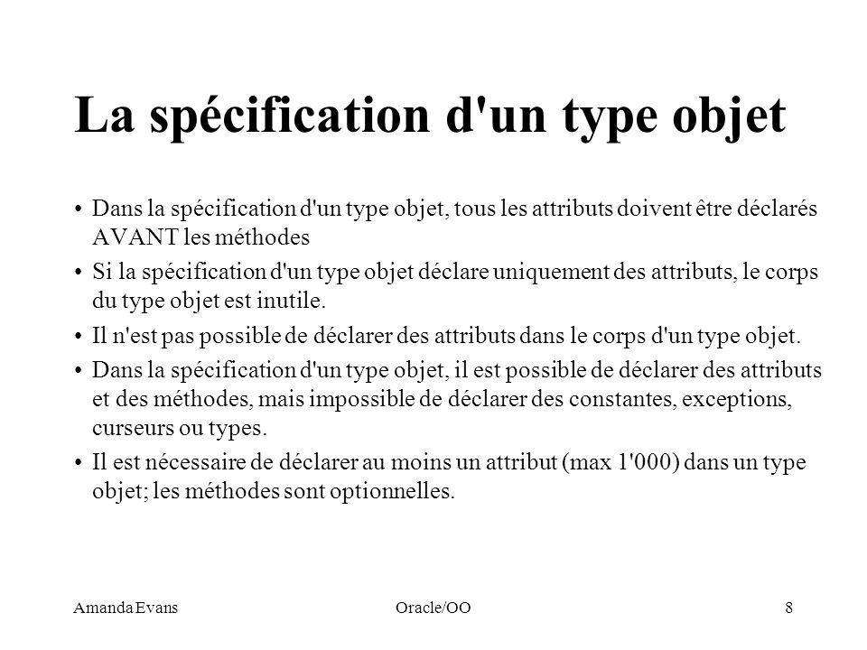 La spécification d un type objet