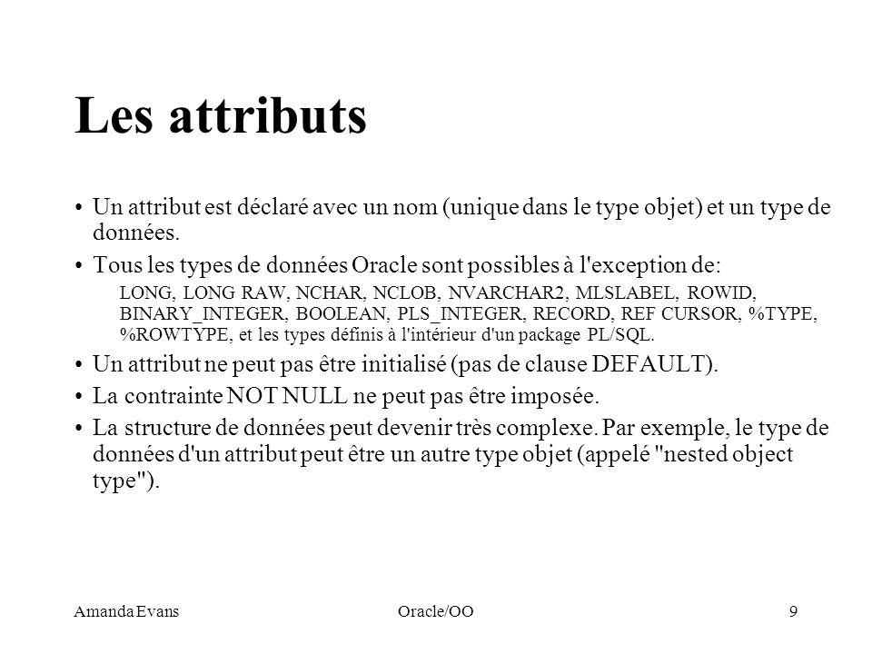 Les attributs Un attribut est déclaré avec un nom (unique dans le type objet) et un type de données.