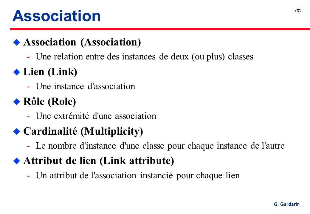 Association Association (Association) Lien (Link) Rôle (Role)