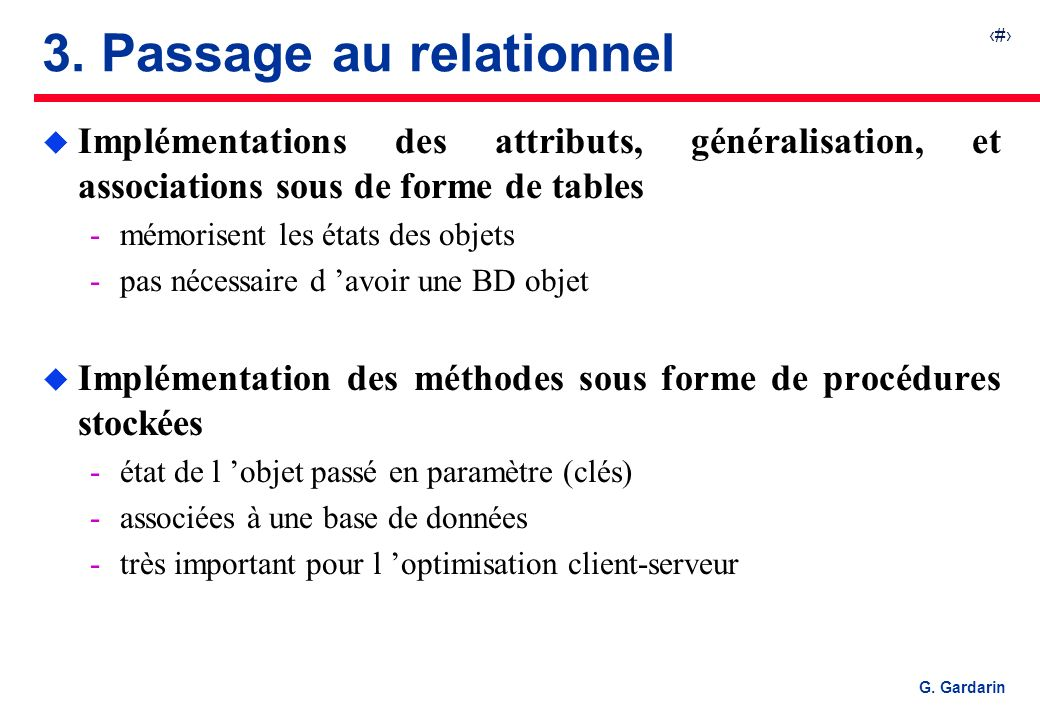 3. Passage au relationnel