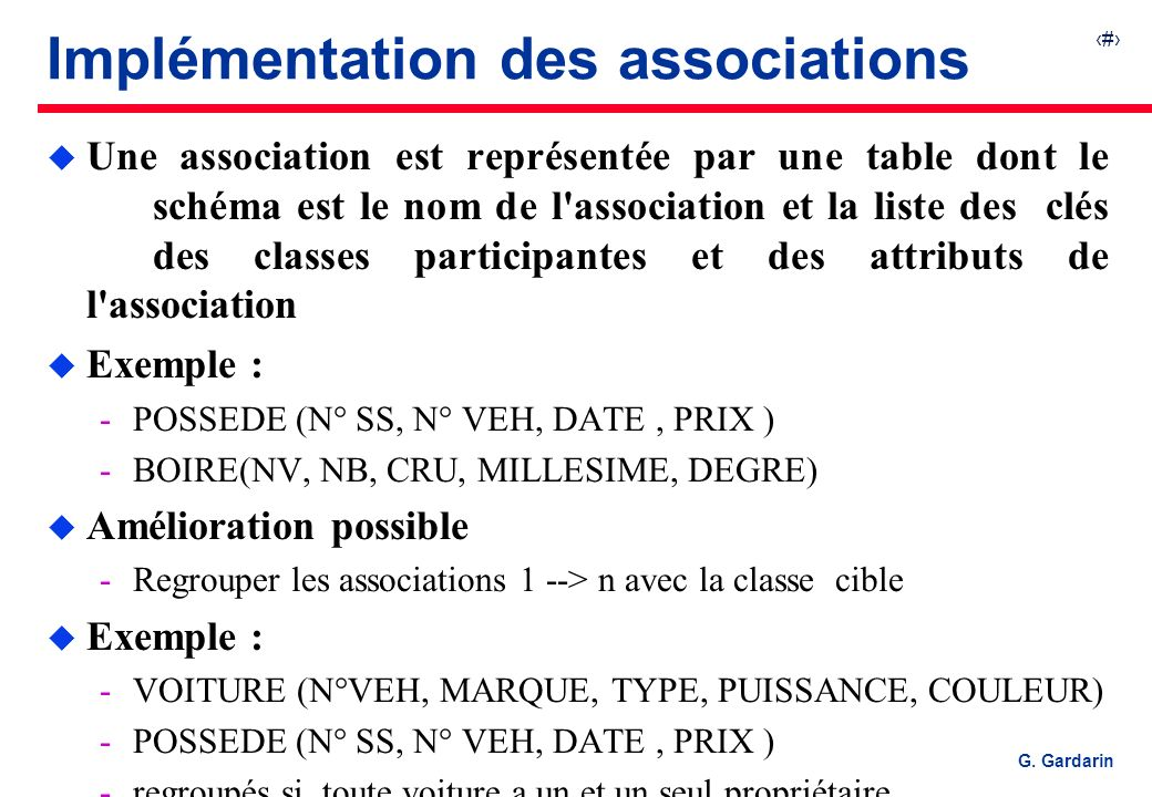 Implémentation des associations