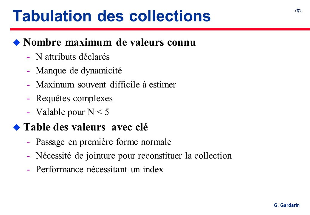 Tabulation des collections