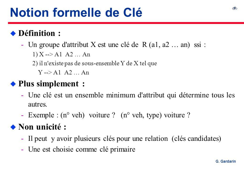 Notion formelle de Clé Définition : Plus simplement : Non unicité :