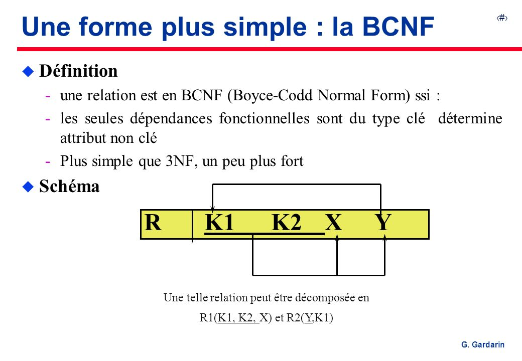 Une forme plus simple : la BCNF