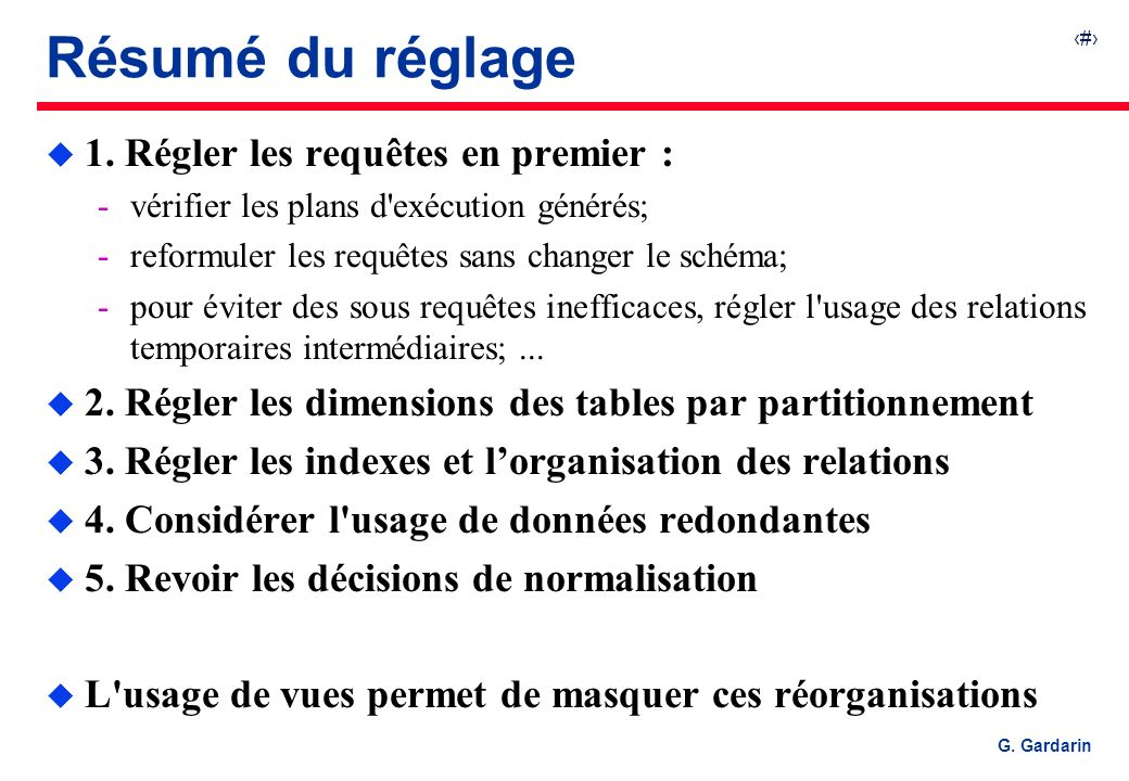 Résumé du réglage 1. Régler les requêtes en premier :