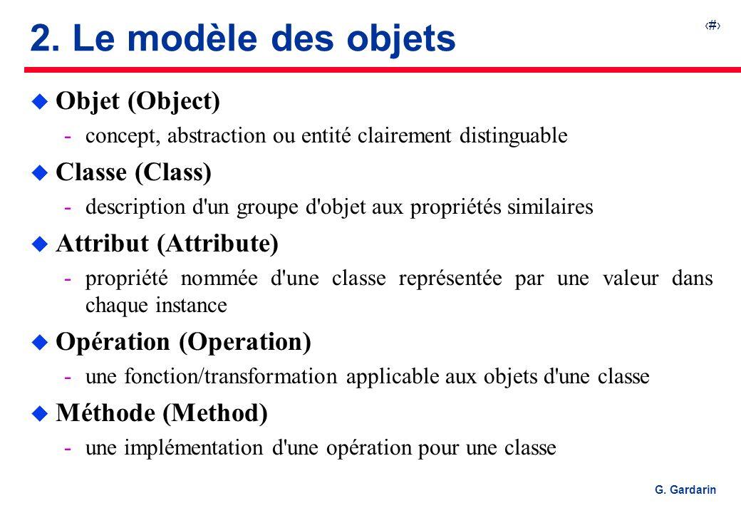 2. Le modèle des objets Objet (Object) Classe (Class)