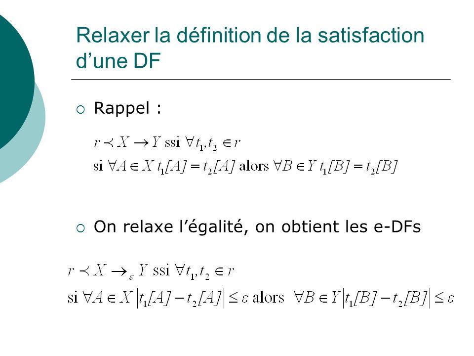 Relaxer la définition de la satisfaction d'une DF