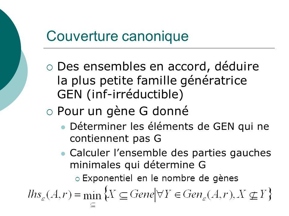 Couverture canonique Des ensembles en accord, déduire la plus petite famille génératrice GEN (inf-irréductible)
