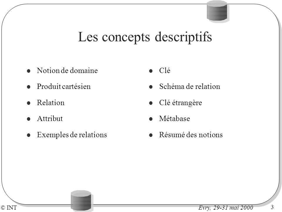 Les concepts descriptifs