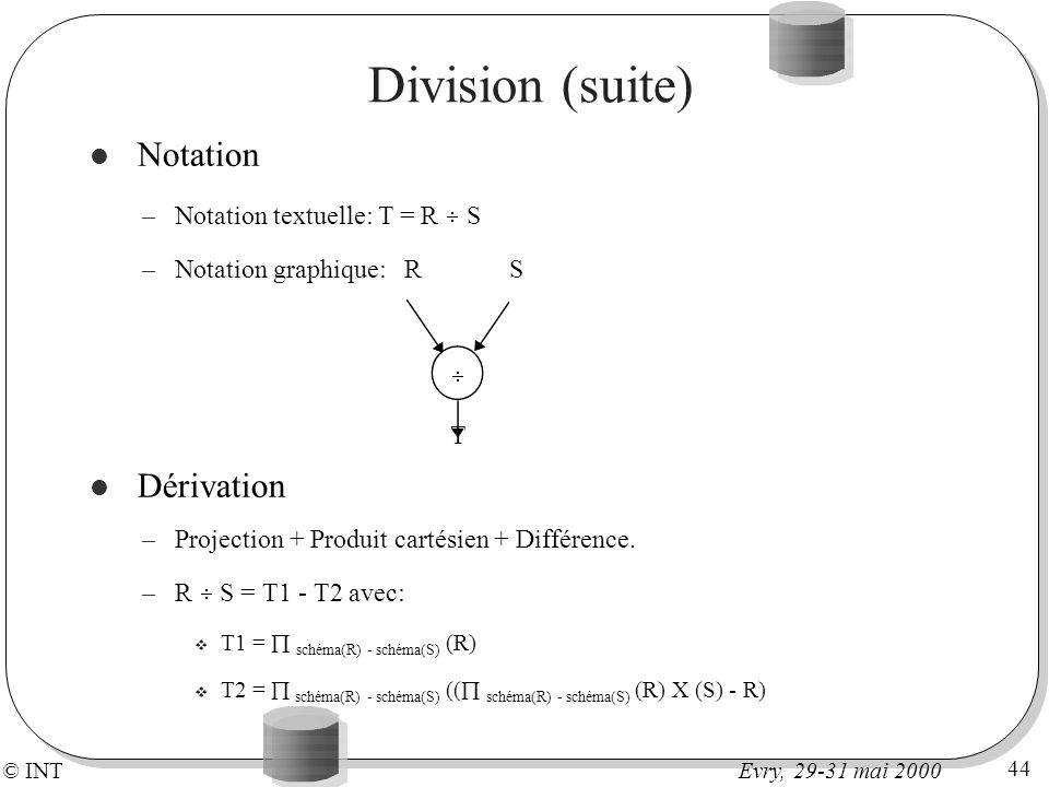 Division (suite) Notation Dérivation Notation textuelle: T = R S