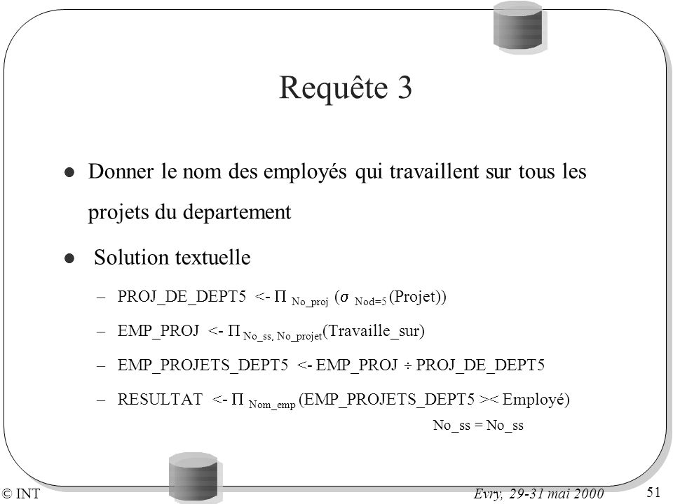 Requête 3Donner le nom des employés qui travaillent sur tous les projets du departement. Solution textuelle.