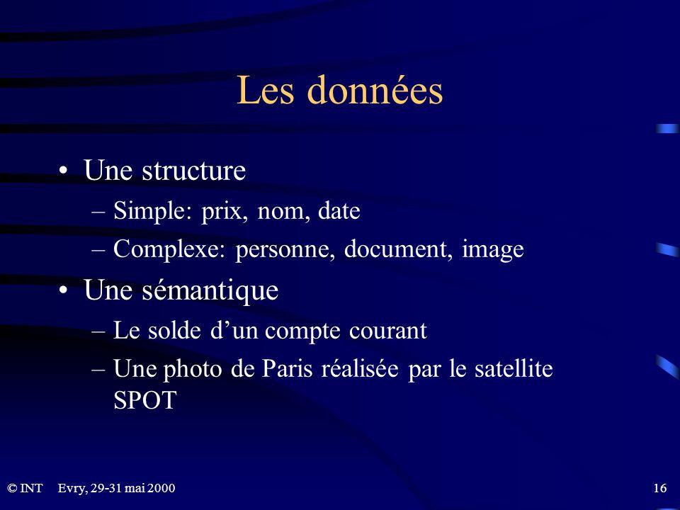 Les données Une structure Une sémantique Simple: prix, nom, date