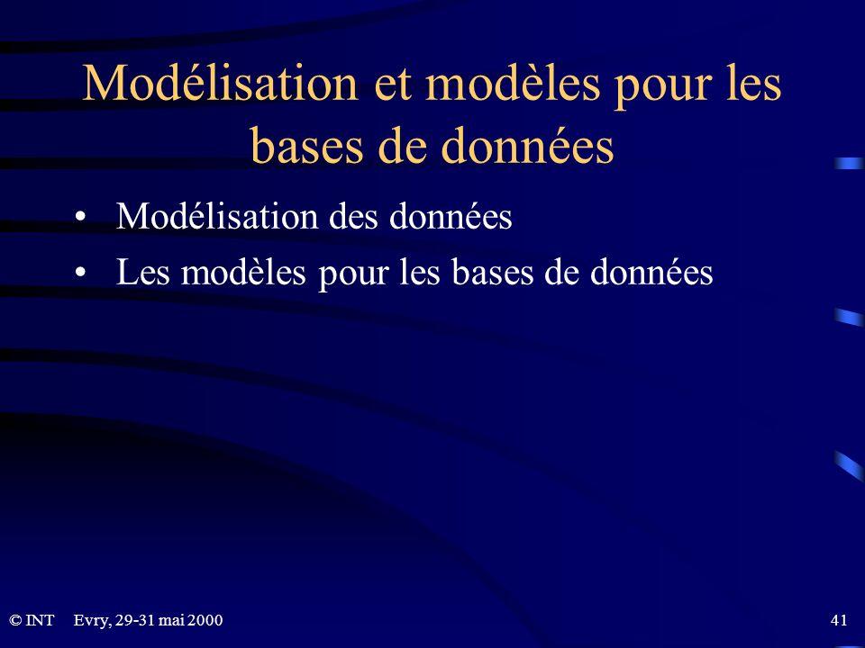 Modélisation et modèles pour les bases de données