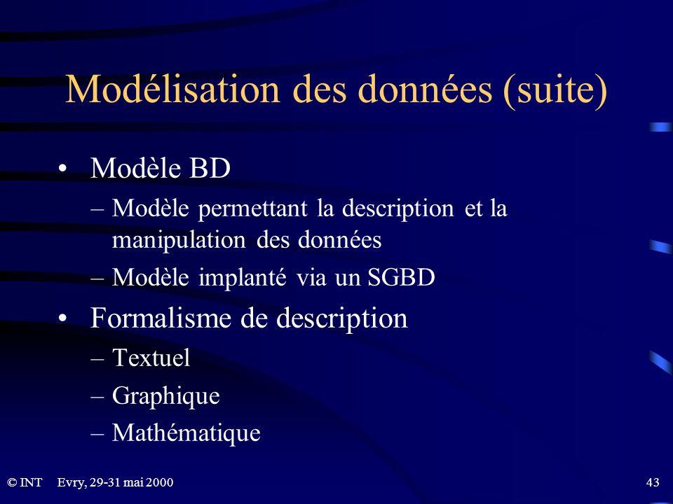 Modélisation des données (suite)