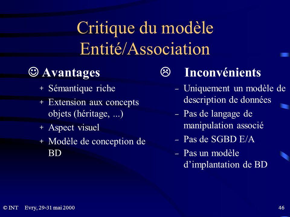 Critique du modèle Entité/Association