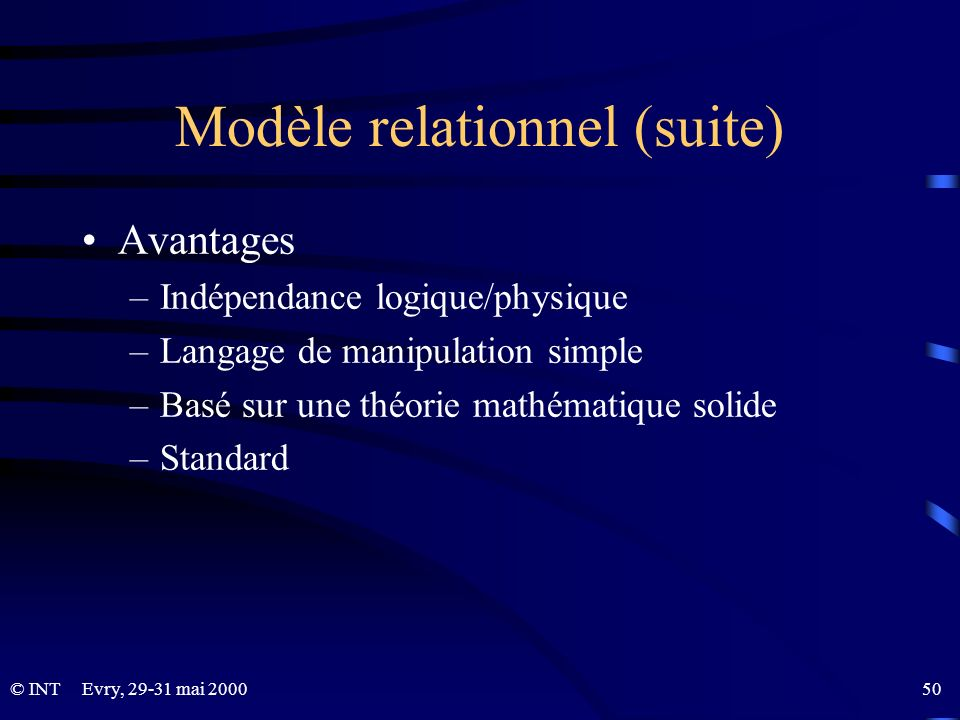 Modèle relationnel (suite)