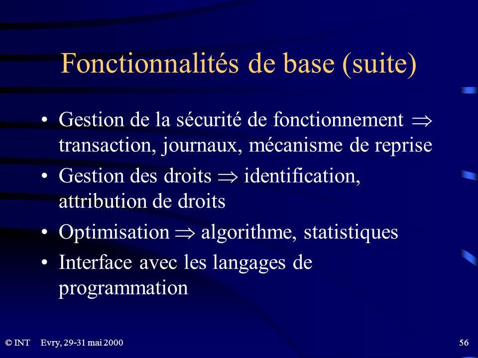 Fonctionnalités de base (suite)