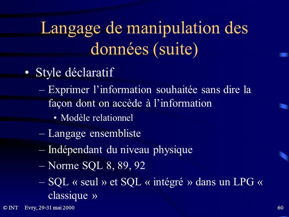 Langage de manipulation des données (suite)