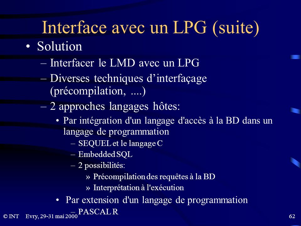 Interface avec un LPG (suite)