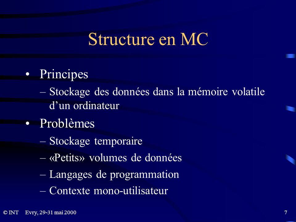 Structure en MC Principes Problèmes