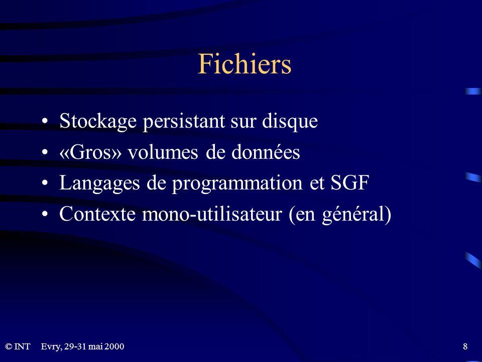 Fichiers Stockage persistant sur disque «Gros» volumes de données