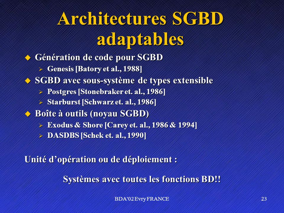 Architectures SGBD adaptables