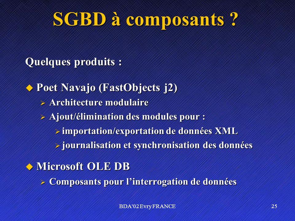 SGBD à composants Quelques produits : Poet Navajo (FastObjects j2)