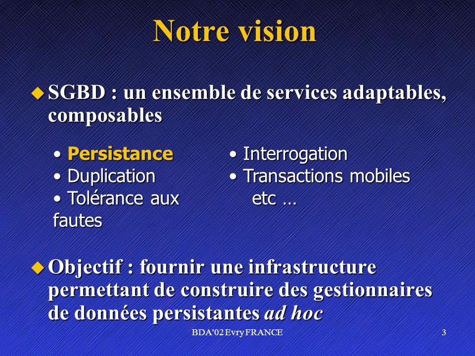 Notre vision SGBD : un ensemble de services adaptables, composables