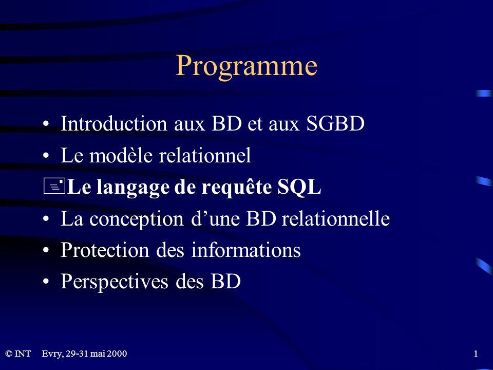 Programme Introduction aux BD et aux SGBD Le modèle relationnel