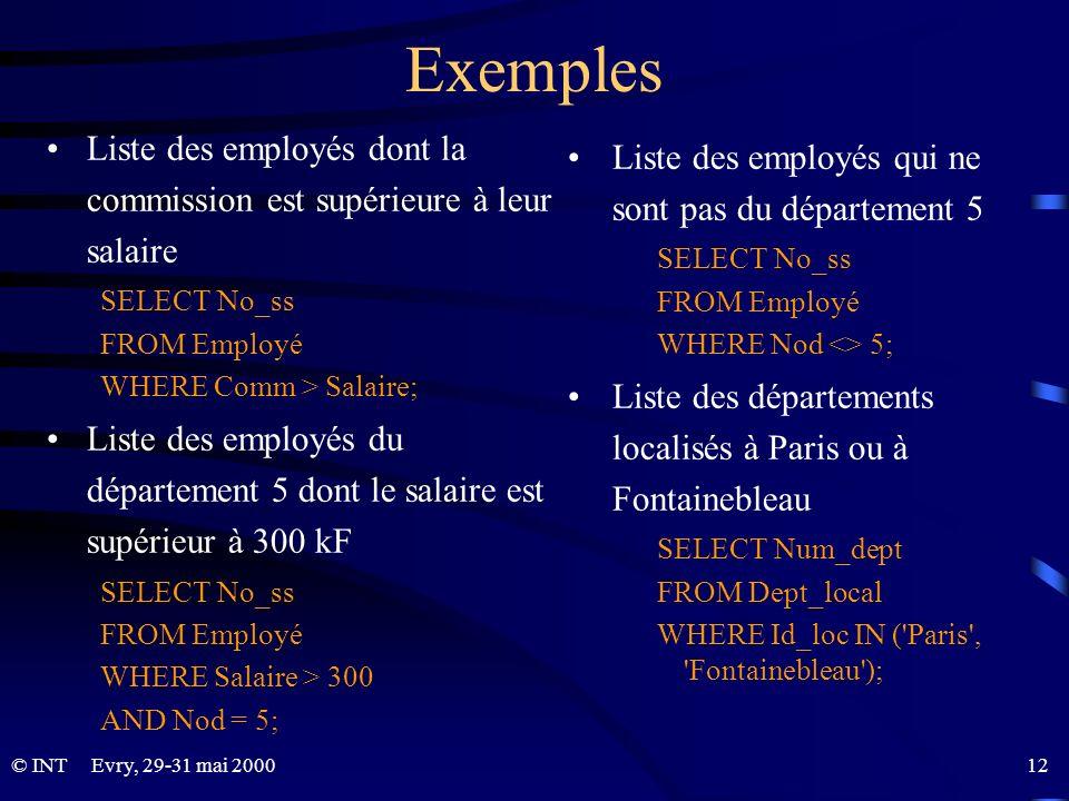 Exemples Liste des employés dont la commission est supérieure à leur salaire. SELECT No_ss. FROM Employé.