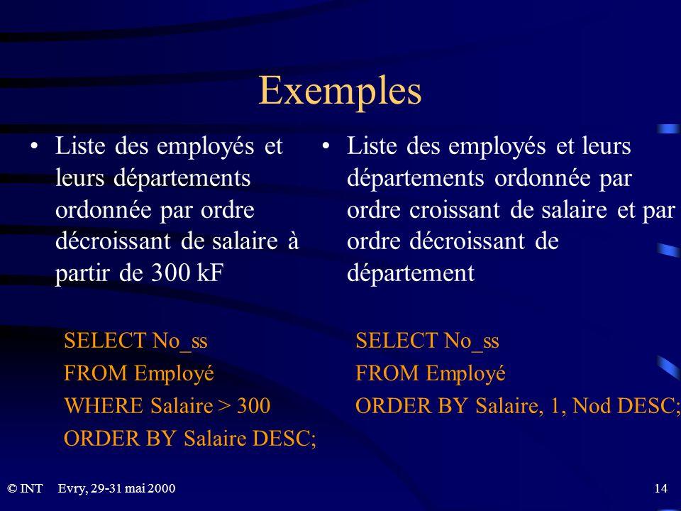Exemples Liste des employés et leurs départements ordonnée par ordre décroissant de salaire à partir de 300 kF.