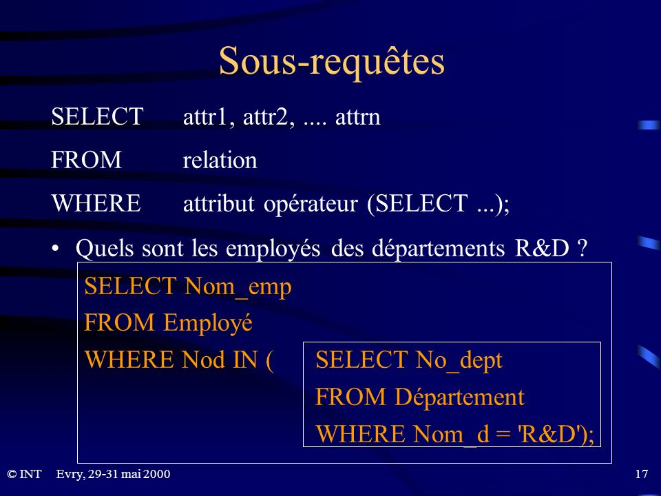 Sous-requêtes SELECT attr1, attr2, .... attrn FROM relation