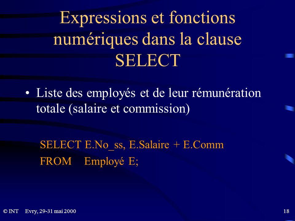 Expressions et fonctions numériques dans la clause SELECT