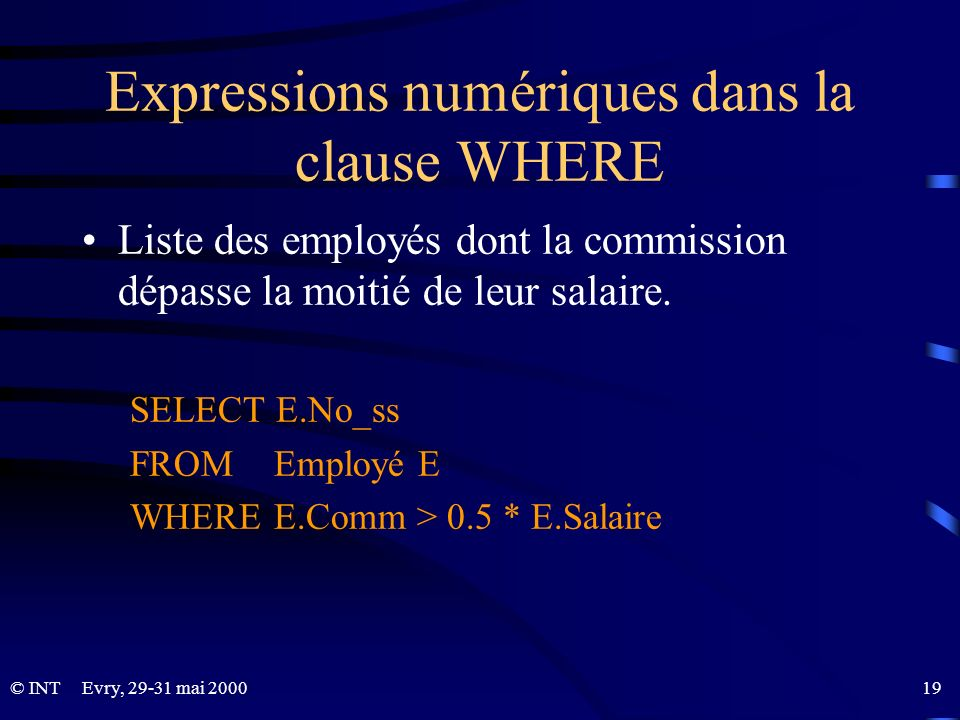 Expressions numériques dans la clause WHERE