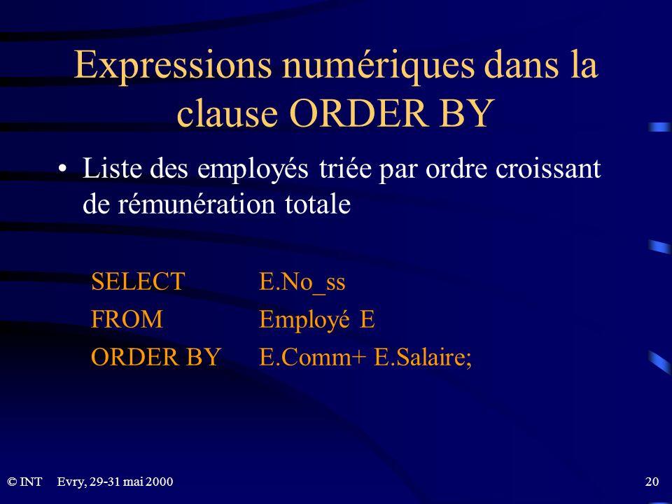 Expressions numériques dans la clause ORDER BY