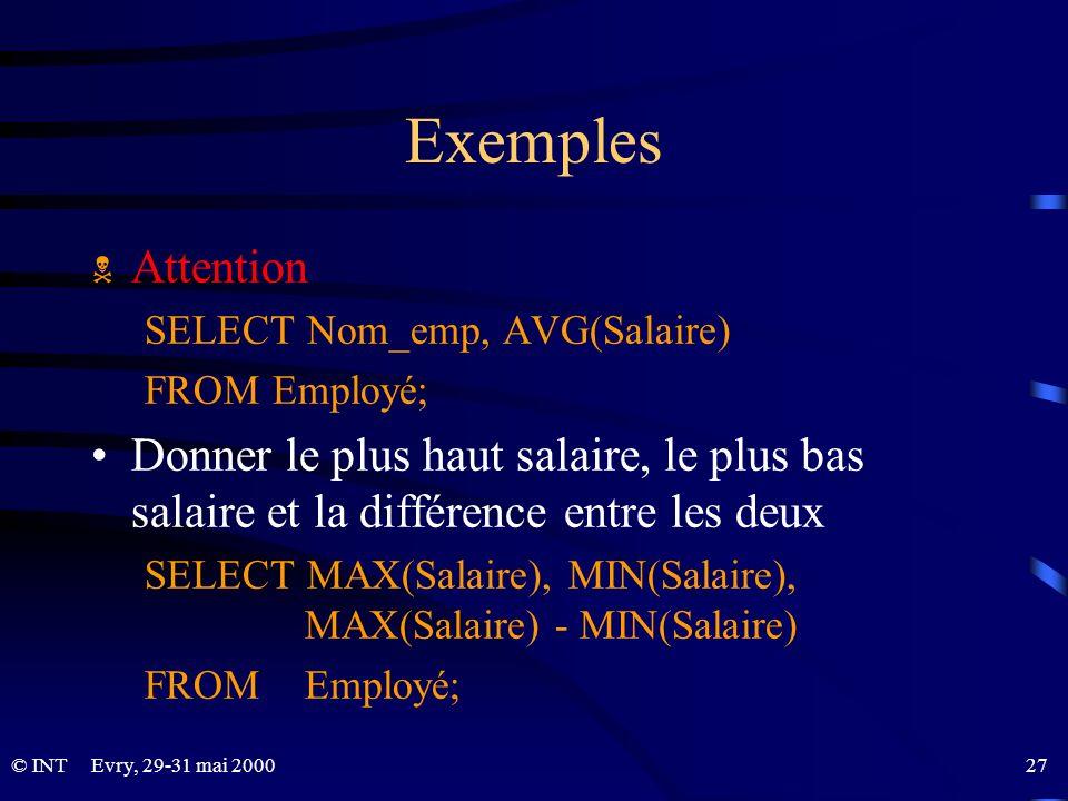 Exemples Attention. SELECT Nom_emp, AVG(Salaire) FROM Employé; Donner le plus haut salaire, le plus bas salaire et la différence entre les deux.