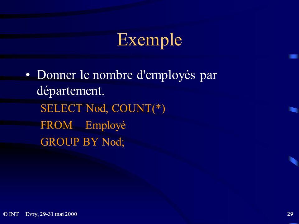 Exemple Donner le nombre d employés par département.